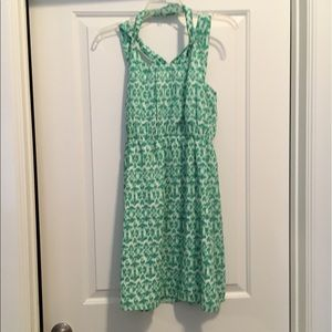 Green and white patterned boutique dress